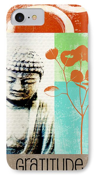 Gratitude Card- Zen Buddha IPhone Case by Linda Woods