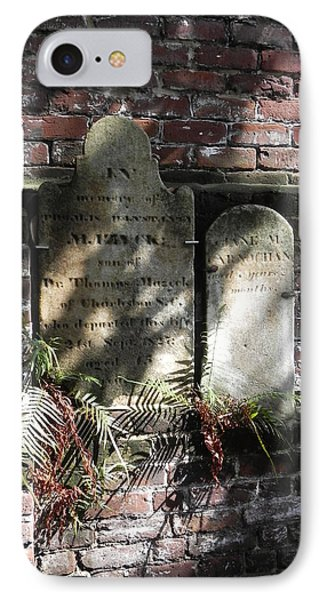 IPhone Case featuring the photograph Grave Stones With Fern by Patricia Greer