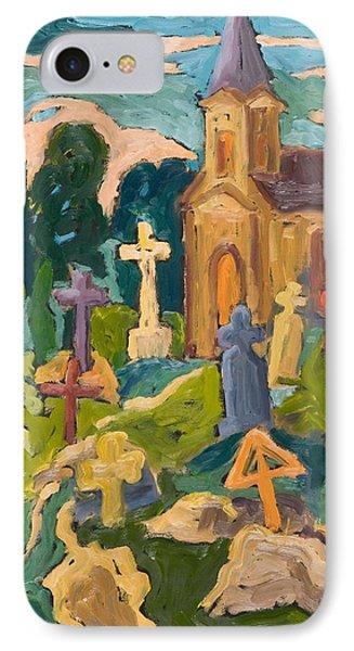 Graveyard And Chapel, 2005 Oil On Board IPhone Case by Marta Martonfi-Benke
