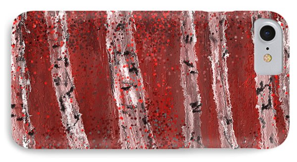 Gray And Red Birch Trees- Marsala Art IPhone Case by Lourry Legarde