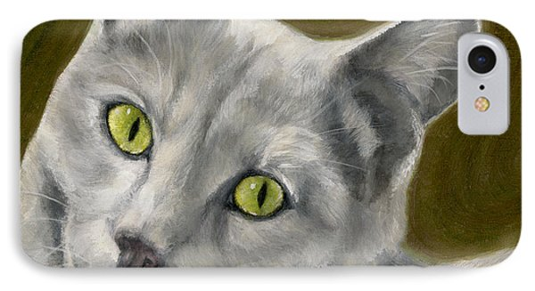 Gray Cat With Green Eyes Phone Case by Amy Reges