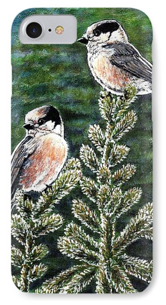 IPhone Case featuring the painting Gray Jays by VLee Watson