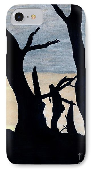 IPhone Case featuring the drawing Gray Sunset by D Hackett