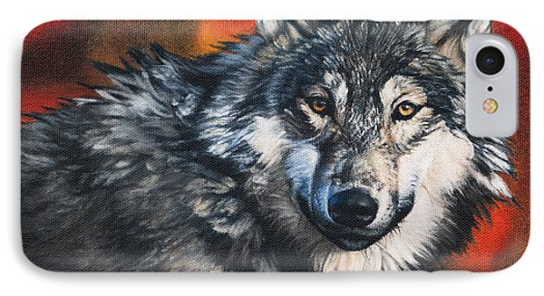IPhone Case featuring the painting Gray Wolf by Joshua Martin