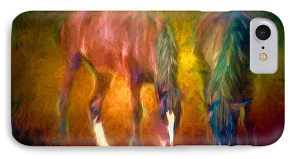 Grazing Horses Version 2 Textured IPhone Case by Clare VanderVeen