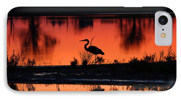 Great Blue Heron At Sunrise IPhone Case by Allan Levin