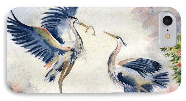 Great Blue Heron Couple IPhone Case by Melly Terpening