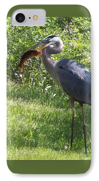 Great Blue Heron Grabs A Meal Phone Case by Christina Shaskus