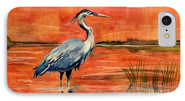 Great Blue Heron In Marsh IPhone Case by Melly Terpening