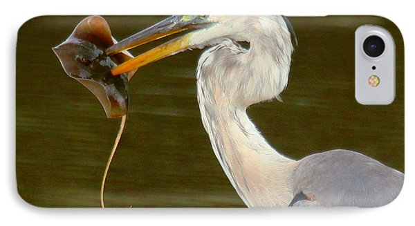 Great Blue Heron With Stingray IPhone Case by Myrna Bradshaw