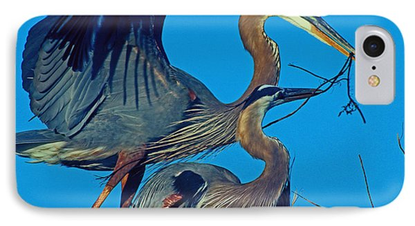 IPhone Case featuring the photograph Great Blue Herons - Nest Building by Larry Nieland
