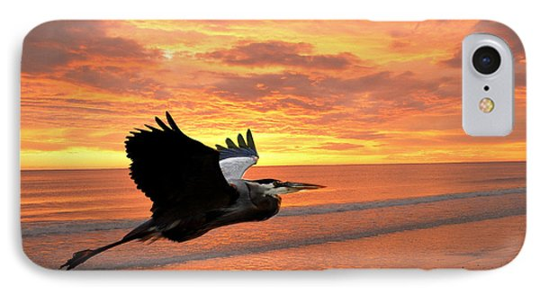 Great Blue In Flight 5 Phone Case by Marty Koch