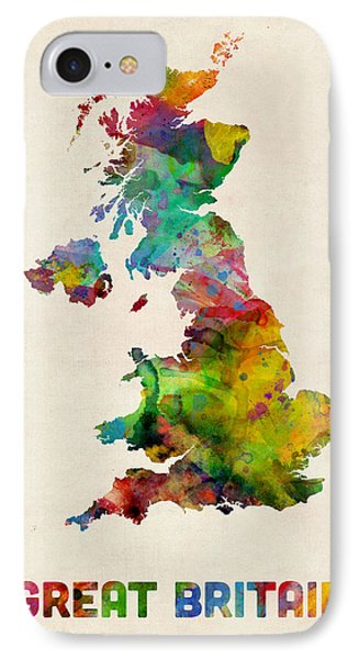 Great Britain Watercolor Map Phone Case by Michael Tompsett