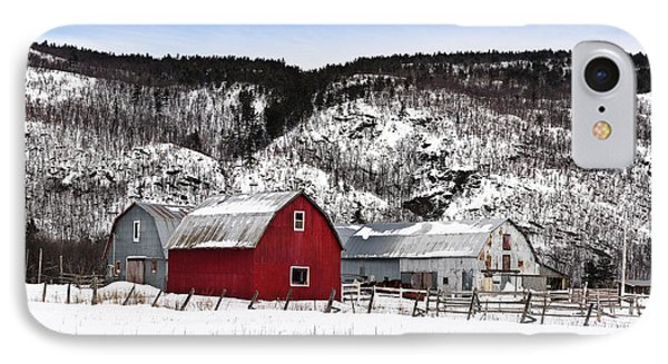 Great Canadian Red Barn In Winter Phone Case by Peter v Quenter