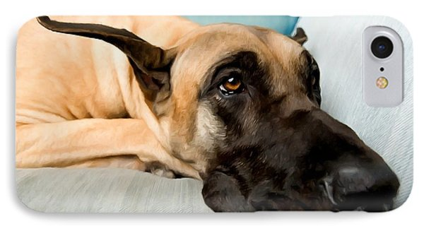 Great Dane Dog On Sofa IPhone Case by Lanjee Chee