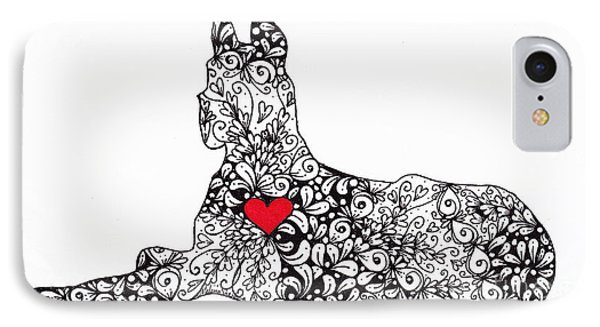 IPhone Case featuring the drawing Great Dane by Melissa Sherbon