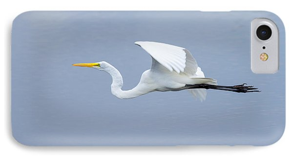 IPhone Case featuring the photograph Great Egret In Flight by John M Bailey