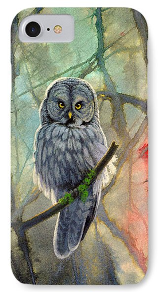 Great Grey Owl In Abstract Phone Case by Paul Krapf