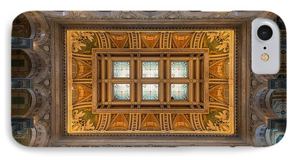 Great Hall Ceiling Library Of Congress IPhone Case by Steve Gadomski