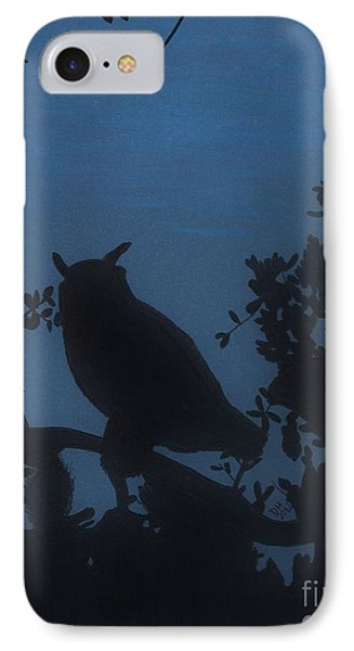 IPhone Case featuring the drawing Owl At Night by D Hackett
