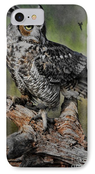 Great Horned Owl On Branch IPhone Case by Deborah Benoit