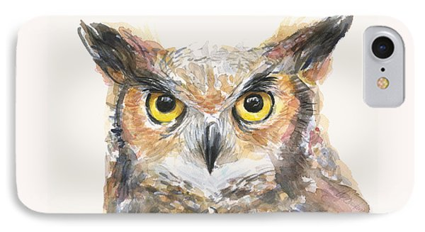 Great Horned Owl Watercolor IPhone 7 Case by Olga Shvartsur