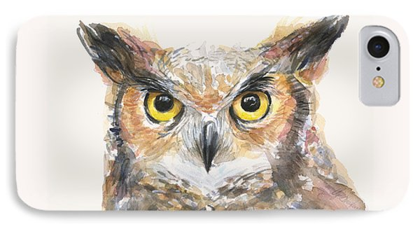 Great Horned Owl Watercolor IPhone Case by Olga Shvartsur