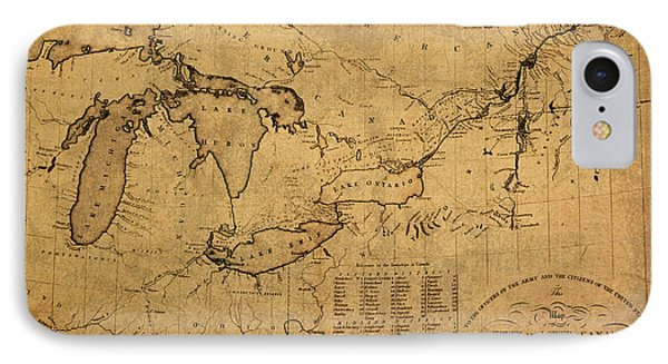 Great Lakes And Canada Vintage Map On Worn Canvas Circa 1812 IPhone Case by Design Turnpike