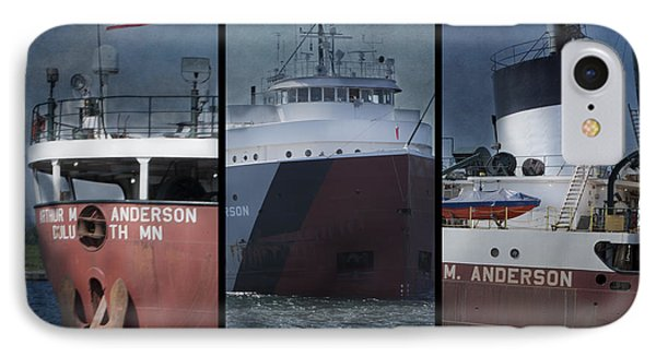 Great Lakes Freighter Triptych Arthur M Anderson IPhone Case by Evie Carrier