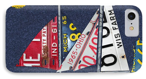 Great Lakes States Sailboat Recycled Vintage License Plate Art IPhone Case by Design Turnpike