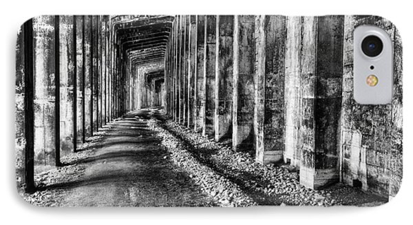 Great Northern Railroad Snow Shed - Black And White IPhone Case by Mark Kiver