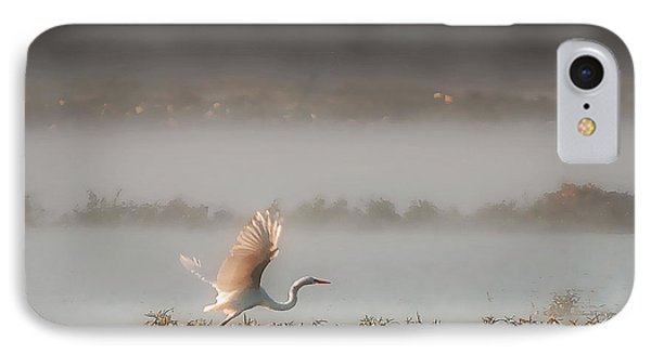 IPhone Case featuring the photograph Great White Heron In Morning Mist by Lena Wilhite