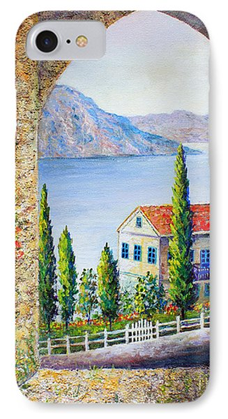 IPhone Case featuring the painting Greek Arch Vista by Lou Ann Bagnall