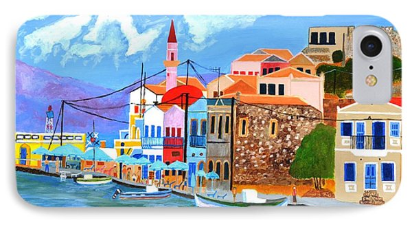 IPhone Case featuring the painting Greek Coast by Magdalena Frohnsdorff
