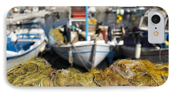 Greek Fishing Harbour IPhone Case by Mike Santis