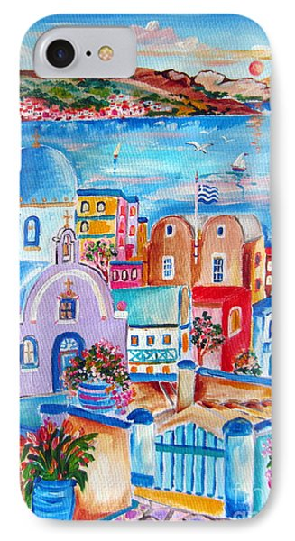 Greek Flag In Santorini IPhone Case