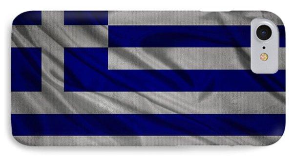 Greek Flag Waving On Canvas IPhone Case by Eti Reid