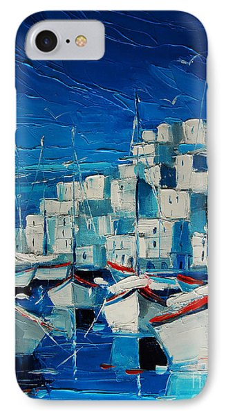 Greek Harbor IPhone Case by Mona Edulesco