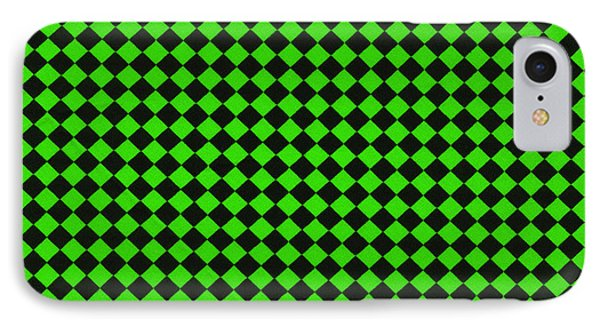 Green And Black Checkered Pattern Cloth Background IPhone Case