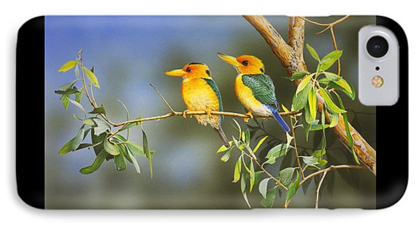 Green And Gold - Yellow-billed Kingfishers IPhone Case by Frances McMahon