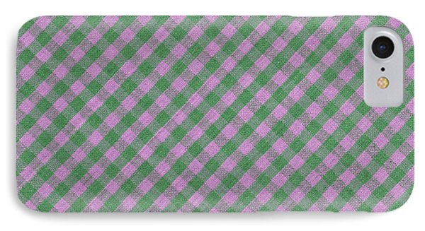Green And Pink Checkered Diagonal Tablecloth Cloth Background IPhone Case