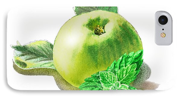 IPhone Case featuring the painting Green Apple And Mint Happy Union by Irina Sztukowski