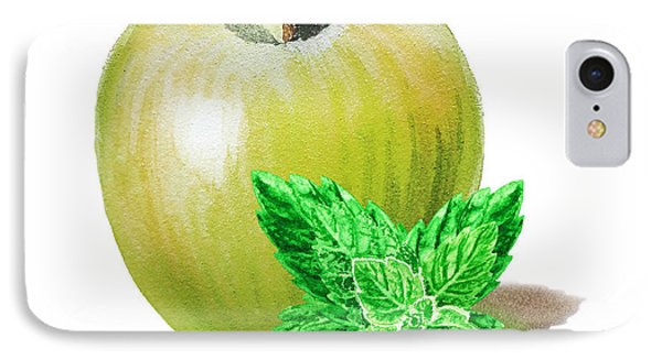 IPhone 7 Case featuring the painting Green Apple And Mint by Irina Sztukowski