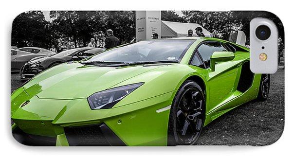 IPhone Case featuring the photograph Green Aventador by Matt Malloy