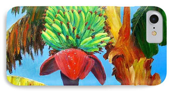IPhone Case featuring the painting Green Bananas by Cheryl Del Toro