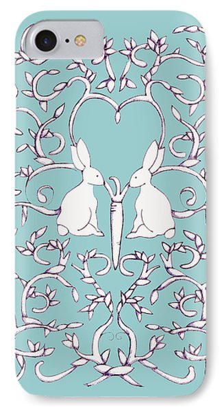 Green Blue Rabbits Leaves IPhone Case by Donna Huntriss