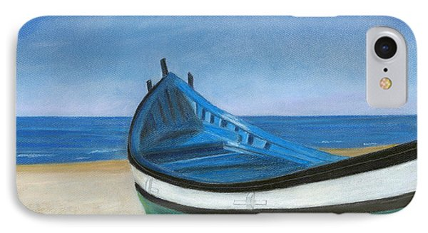Green Boat Blue Skies IPhone Case by Arlene Crafton