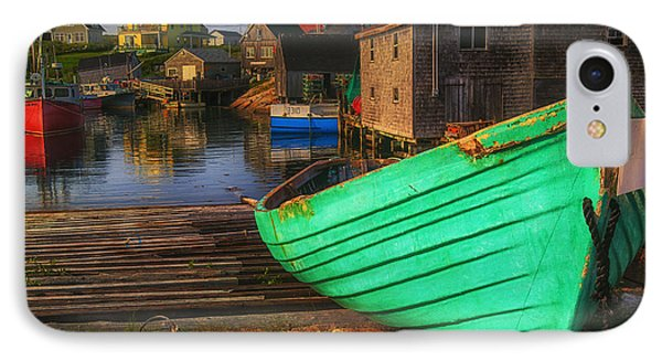 Green Boat Peggys Cove Phone Case by Garry Gay