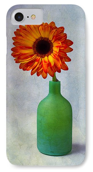 Green Bottle With Orange Daisy IPhone Case by Garry Gay