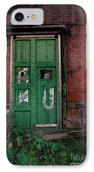 Green Door On Red Brick Wall Phone Case by Amy Cicconi